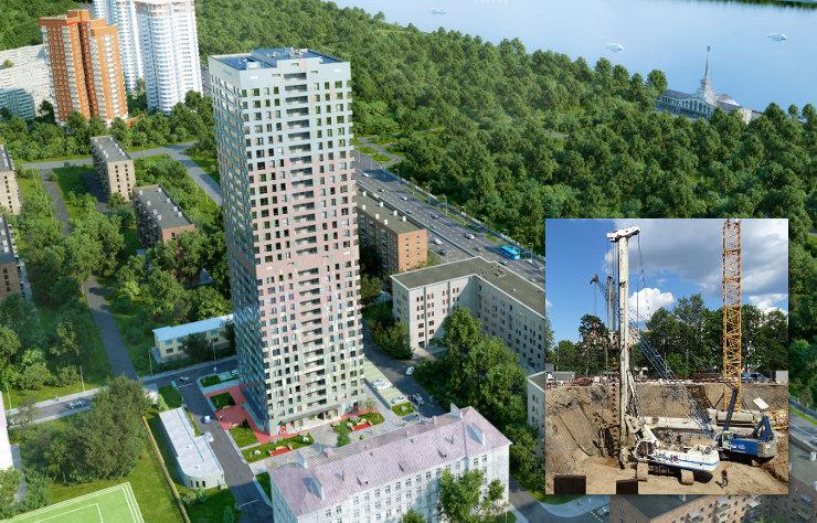 Макет ЖК «Фестиваль Парк» и строительные работы в котловане