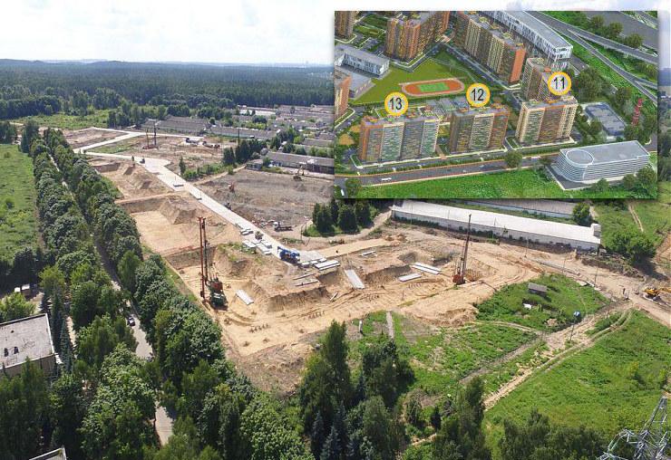 Макет ЖК «Томилино» с домом №11 и строительные работы на котловане