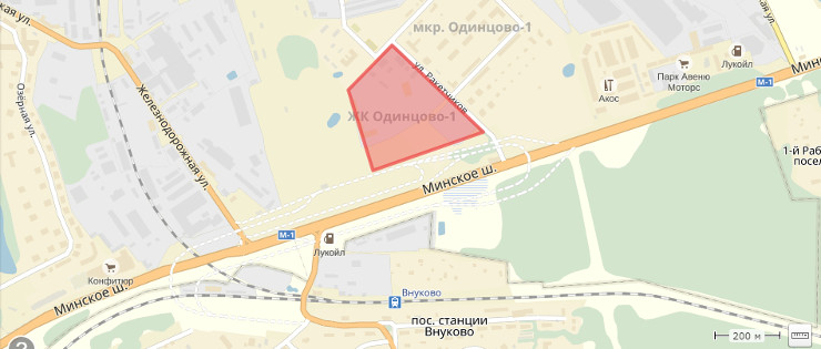 Жилкомплекс Одинцово-1 на карте Московской области